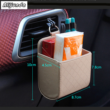Car Organizer Box Bag Air Outlet Dashboard Hanging Leather Box for Citroen Peugeot 206 207 208 301 307 308 407 2008 3008 4008 image