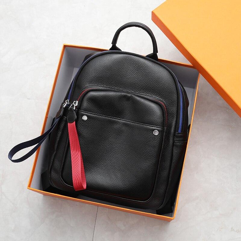 Sac à dos en cuir de loisirs pour femmes fait à la main 100% sac à dos de fille en cuir véritable souple de haute qualité grand sac de voyage noir