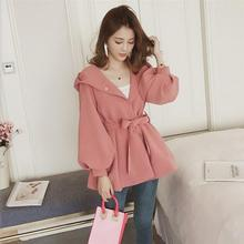 DoreenBow New Fashion Women Bandage Bowknot Coat Outwear Female Spring Autumn Trench Coats Casual Chic Solid Black Pink