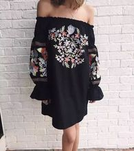 women dress beach style floral embroidery dresses flare sleeve mama 2018 casual clothes gothic vintage plus size summer купить дешево онлайн
