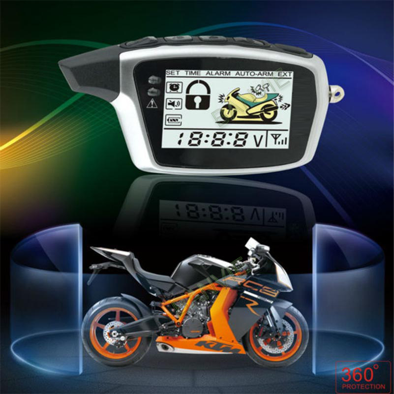 High Quality Original SPY Two Way Anti - theft Motorcycle Alarm With 2 rechargeable LCD Transmitters Remote Engine Start universal one way car alarm security system with four buttons remote transmitters suitable for all kinds of cars fast shipping