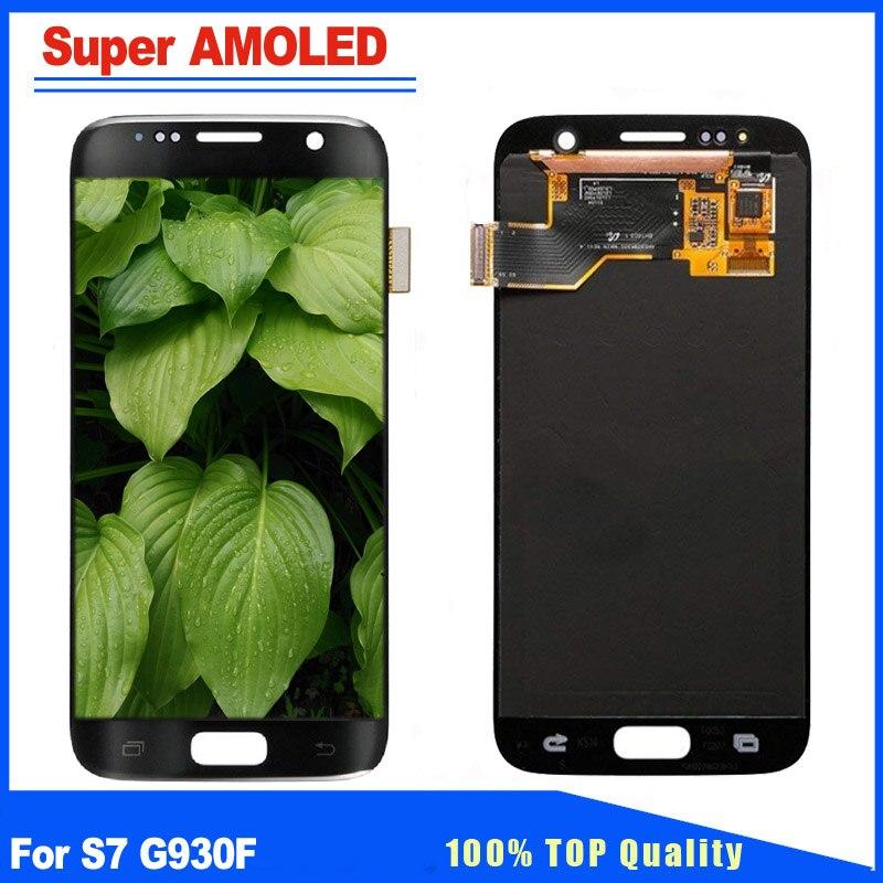 Remplacement pour samsung Galaxy S7 G930 G930F Super AMOLED Noir, Argent, Or écran lcd numériseur à écran tactile Assemblée Complet