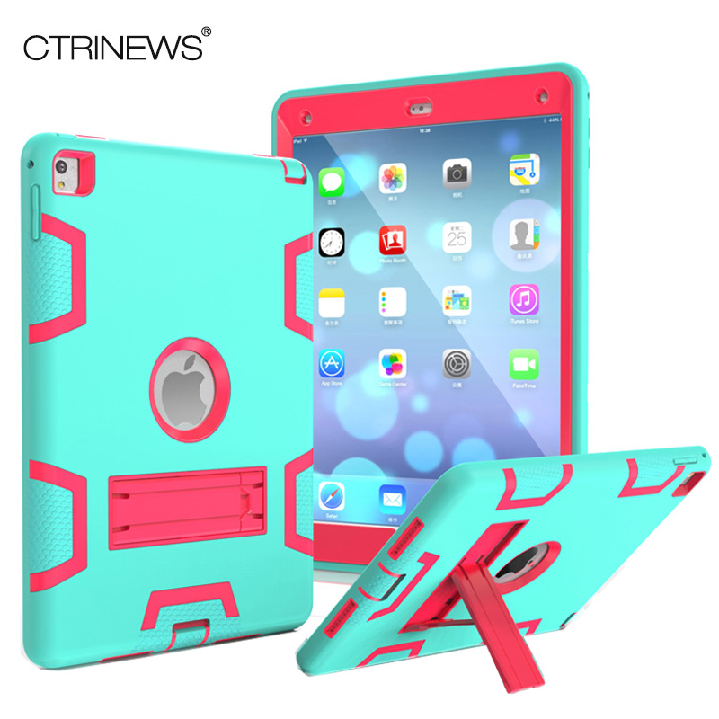 CTRINEWS For Apple iPad Pro 9.7 Case Hybrid Three Layer Heavy Duty Armor Silicone Case for iPad Pro 9.7 Tablet PC Stand Cover case for apple ipad pro plus 12 9 tablet heavy duty rugged impact hybrid case kickstand protective cover for ipad pro 12 9