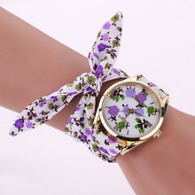 New design Geneva Girls flower material wristwatch style girls gown watch top quality cloth watch candy ladies Bracelet watch