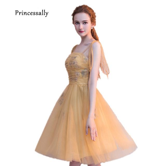 561988cff Nuevo amarillo vestido de noche corto atractivo correas espaguetis bordado  rebordear lindo graduación Homecoming cumpleaños del