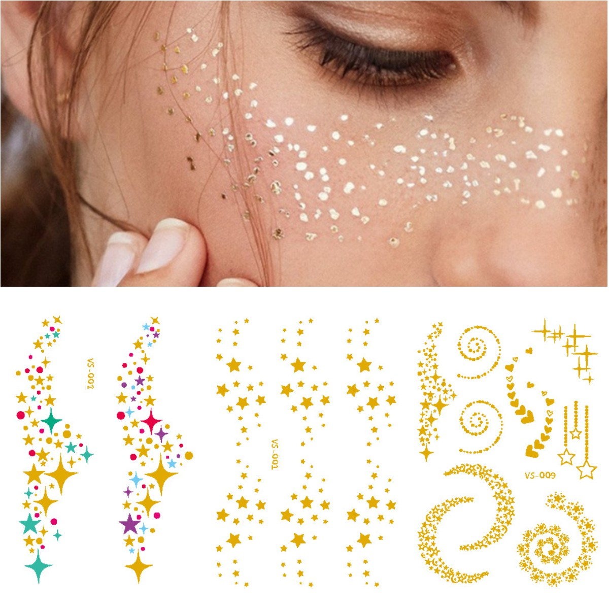 10pcs Gold Face Tattoos Bronzing Flash Tattoo Temporary Blocked Freckles Makeup Body Art Stickers Eye Decals Bride Tribe Party in Temporary Tattoos from Beauty Health