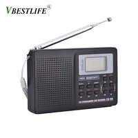 Banda completa AM/SW/LW/TV/FM Radio Sonido receptor de frecuencia completa recepción de Radio FM con sincronización despertador Radio portátil negro