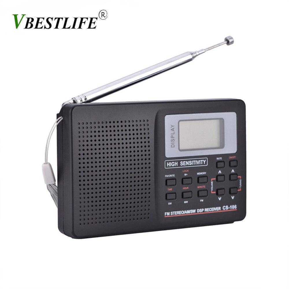 Volle Band AM/SW/LW/TV/FM Radio Sound Volle Frequenz Empfänger Erhalt FM Radio mit timing Alarm Clock Tragbare Radio Schwarz