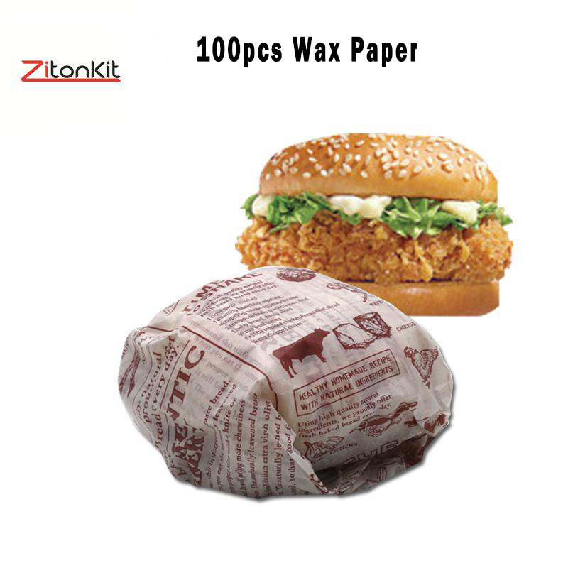 100pcs/lot Baking Paper Wax Paper Food Grade Wrappers For Bread Sandwich Burger Fries Oilpaper Baking Tool Cup Candy Home & Garden