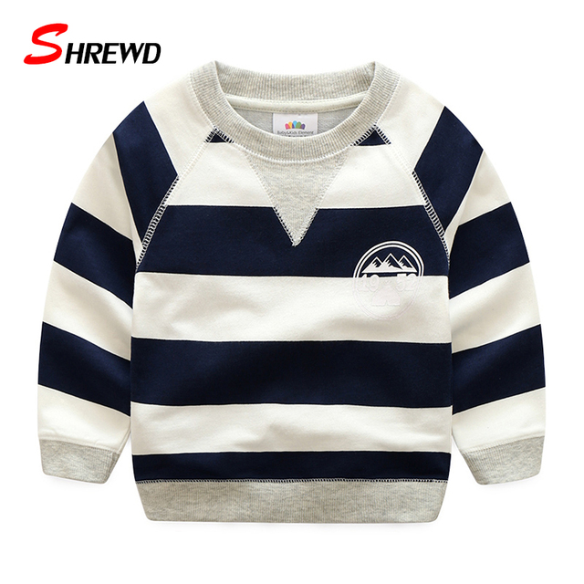 T Shirt Boys Kids Spring 2017 New Casual Striped Tshirt Kids Simple O-neck Long Sleeve Baby Boy Clothes 4884Z