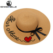 Custom Sun Hat For Womens Summer Personalized Customize Embroidery Text Name Logo Straw Beach Female Sunshade Caps