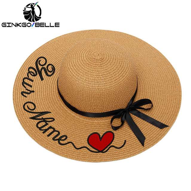 Personalized Custom Name LOGO Text Women Sun Hat Lace Ribbon Bow Large Brim Straw Hat Outdoor