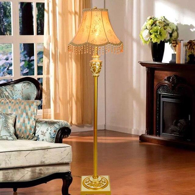 Harz Stehlampe Goldenen Stoff E27 Boden Lampe Hotel Nachttischlampen Wohnzimmer  Dekoration Moderne Stehleuchte