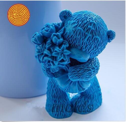 아기 금형 제작 꽃 3d와 곰으로 테디 베어 Diy Craft Moulds 비누 용 실리콘 몰드