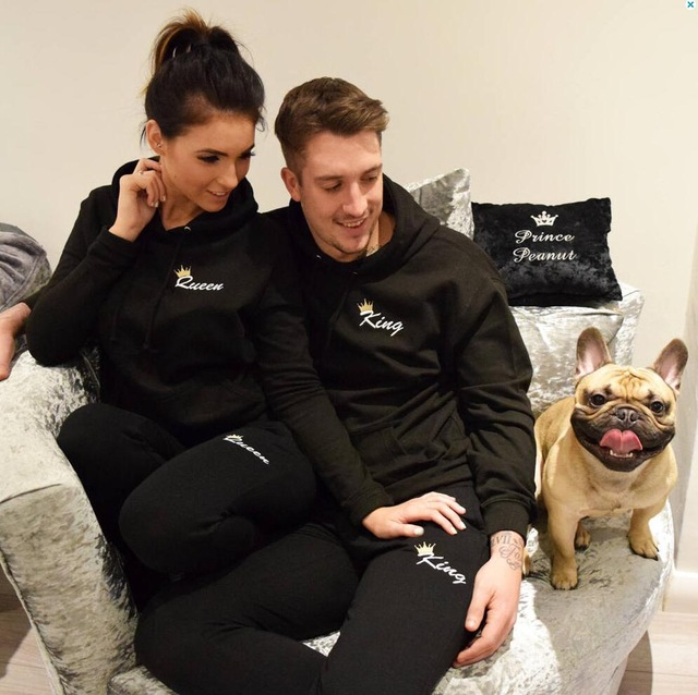 Autumn Women Men Long Sleeve Casual Couple King Queen Print Hooded Hoodies and Pants Set 2018 New Tracksuit Two Piece Clothing