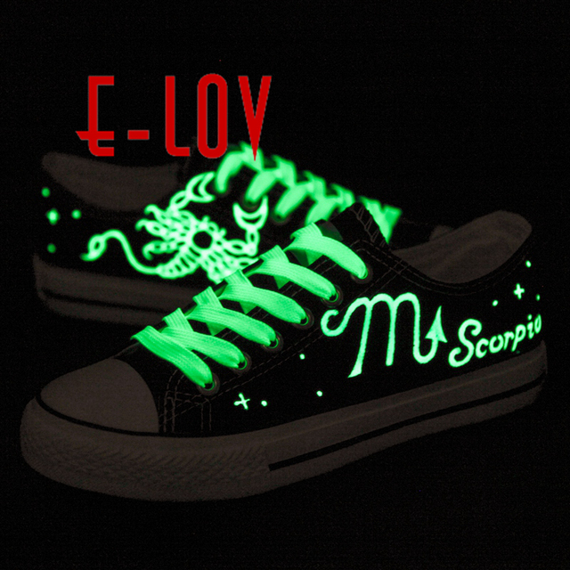 E-LOV 14 Lighted Painting Unisex Designs Hand-Painted Canvas Shoes Personalized Men Adult Casual Shoes Cute Platform Shoes