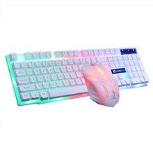 64a72ae2282 Verkauf Bunte Licht Verdrahtete Tastatur + 1200 dpi Gaming Maus Set Computer  Zubehör(China)