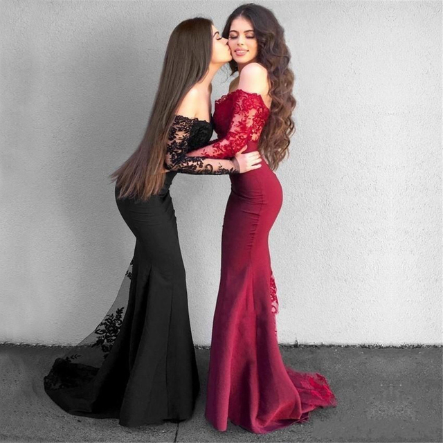 2019 Long Sleeve Black Wedding Guest Dress Boat Neck Mermaid Lace Elastic  Satin Burgundy Bridesmaid Dresses Cheap Custom Made 3632b8409c72