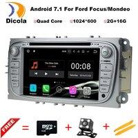 1024*600 2 din Android 7.11 Quad Core Car DVD Player GPS Navi đối với Ford Focus Mondeo Galaxy với Âm Thanh Đài Phát Thanh Stereo Đầu đơn v