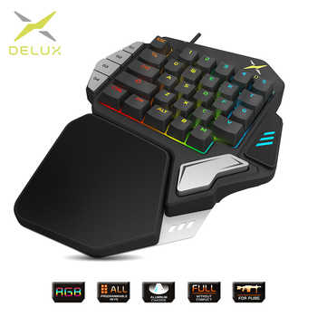 Delux T9X Single-handed Mechanical Gaming keyboards fully programmable USB wired keypad with RGB backlight for PUBG LOL E-Sports - DISCOUNT ITEM  50% OFF All Category
