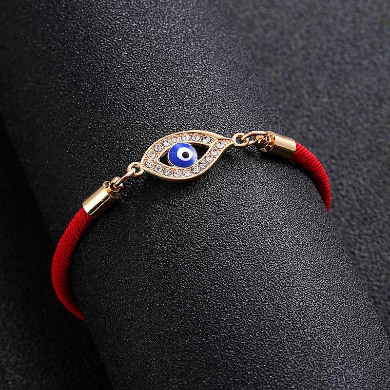 ラッキー赤ロープトルコブルー邪眼チャームブレスレット薄型赤ロープスレッド String ブレスレットカップルのための恋人のギフト卸売