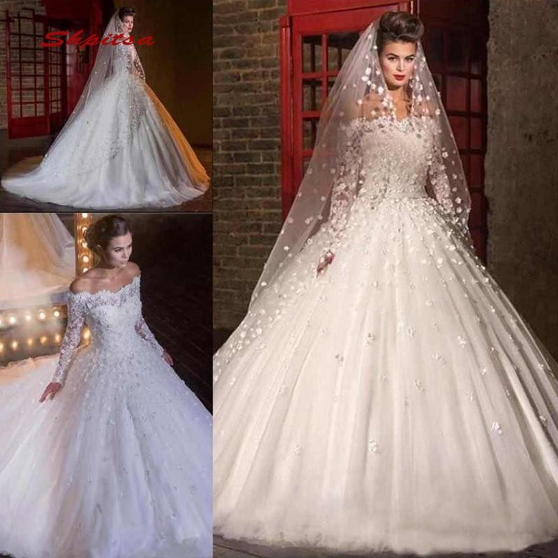 Long Sleeve Lace Wedding Dresses Ball Gown Off Shoulder Turkey Plus Size Bride Bridal Weding Weeding Dresses Wedding Gowns 2019