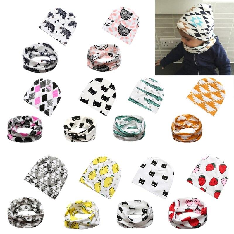 Cute Kids Boys Girls Cotton Animal Hat Cap Beanie Scarf Warp Set