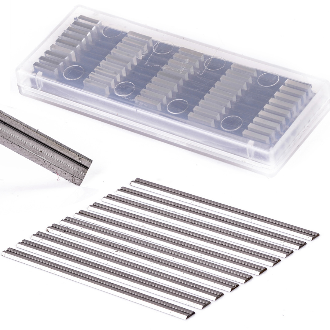 10Pcs Reversible Carbide Planer Blades 82mm X 5.5mm High Speed Steel Dual Blades
