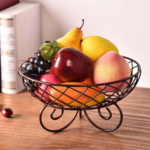 kitchen fruit basket nook table set northern europe iron snacks hollow candy bowl decorative serving tray desktop organizer home decor