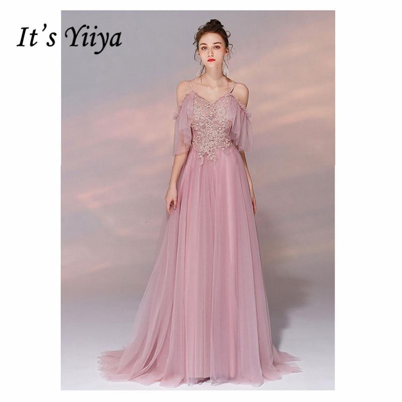 C'est YiiYa femmes Robe de soirée élégant paillettes Floral dentelle Robe de soirée à manches courtes ruché Robe de soirée grande taille 2019 E503