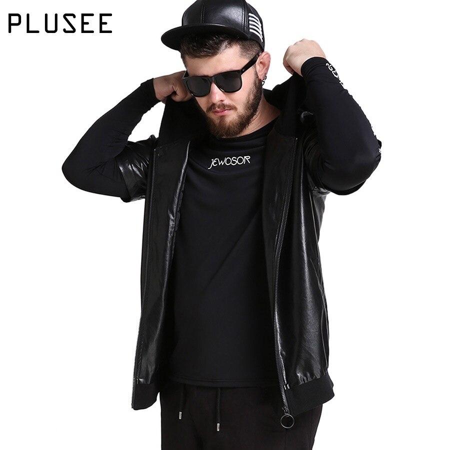 Leather jacket hoodie - Plusee Leather Jacket Men Hoodie Pu Jacket Short Sleeve Men 2017 Spring Fashion Black Casual Leather