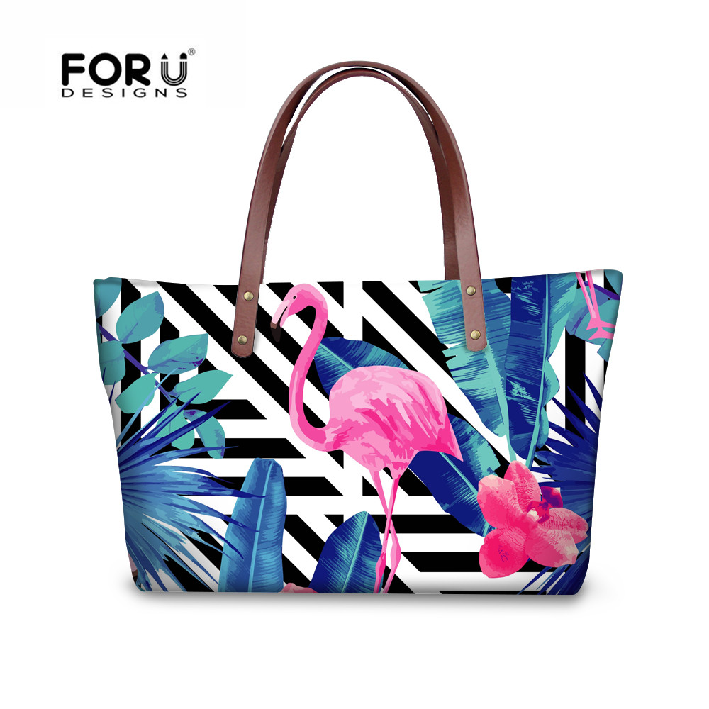 FORUDESGISNS Fashion Women Casual Bags Flamingo 3D Printing Ladies Handbag Large Shoulder Bag Female Elegant Satchel Mujer Bolsa zency fashion women real genuine leather casual women handbag large shoulder bags elegant ladies tote satchel purse bolsa 2017