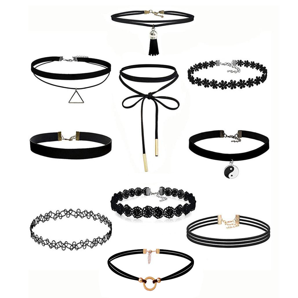 Zerotime #P5 2019 fashion 10Pieces Choker Necklace Set Stretch Velvet Classic Gothic Tattoo Lace Choker    simple Free Shipping