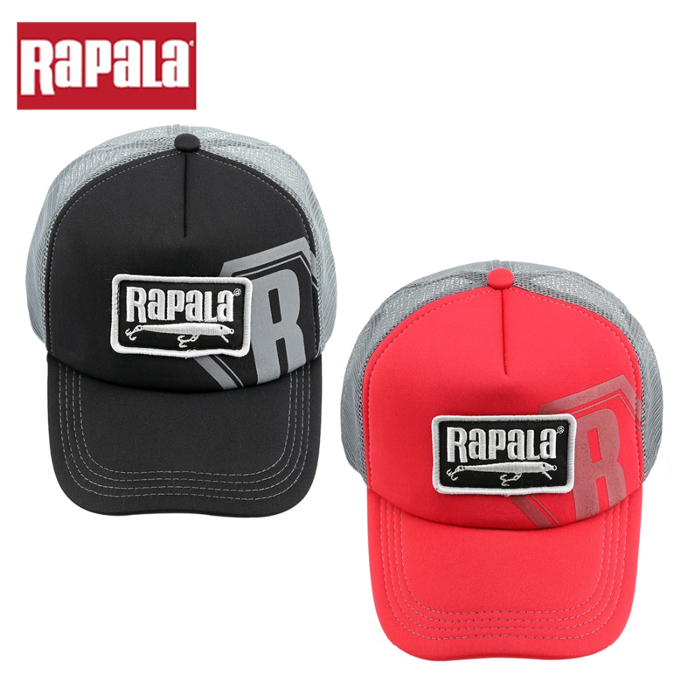 RAPALA Fishing Hat Cap Adjustable White Red Black Embroidered NEW