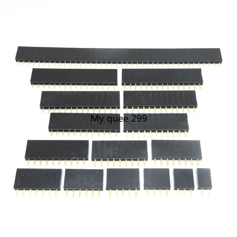 Pitch 2.54mm 2/3/4/5/6/7/8/9/10/11/12/13/14/15/16/17/18/19/20/40 Pin Stright Female Single Row Pin Header Strip PCB Connector