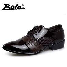 Боле новый дизайн бренда мужчин Туфли к свадебному платью классический Бизнес черная обувь круглый носок увеличение Кружева-Up Мужская обувь Большие размеры в наличии 38–47