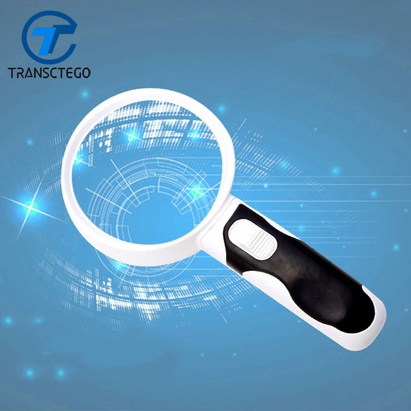 Handheld magnifier optical band LED light reading 100mm antique ready map newspaper magnifying glass 20 times high definition