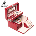 Crocodile Grain Jewelry Casket PU Leather Jewelry Packing Case Cosmetic Makeup Storage Box Necklace Rings Container Organizer