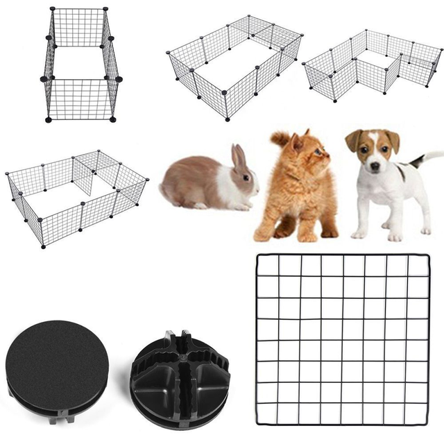 DIY Pet Playpen Fence Enclosure Yard Kennel Dog Cage Pen Crate Kennel Hutch Bunny Cage  Easy Install Storage Tool