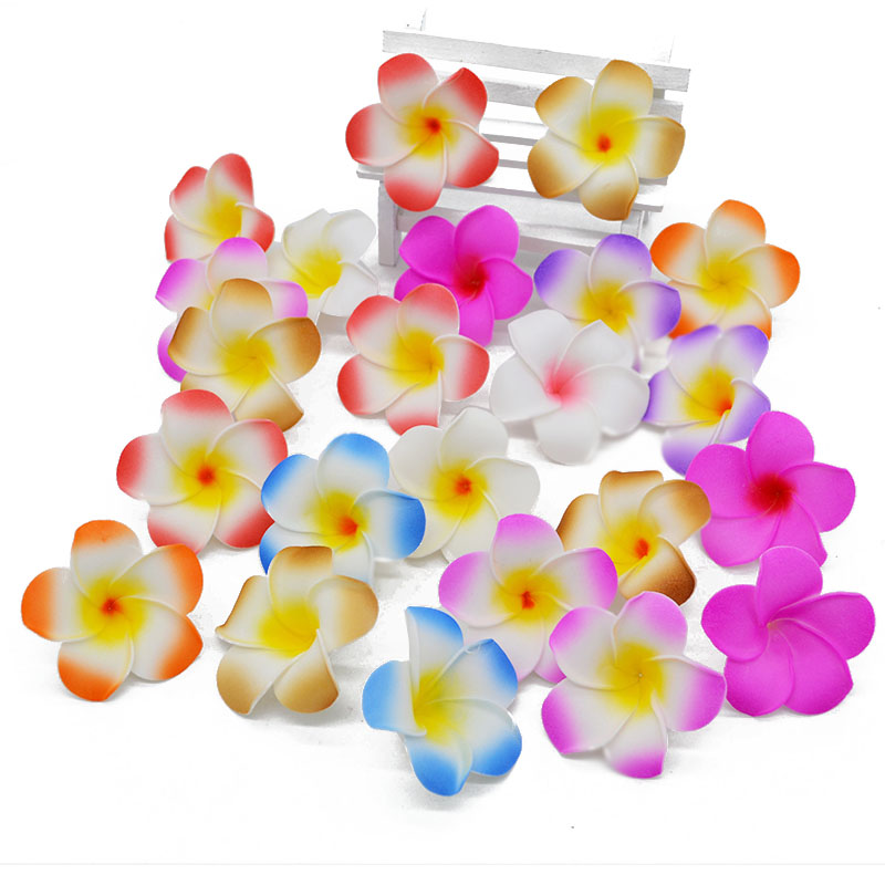 10pcs Handcraft PE Foam Plumeria DIY Artificial Flowers Wreath Frangipani 9CM Egg Flower Heads For Wedding Decorations