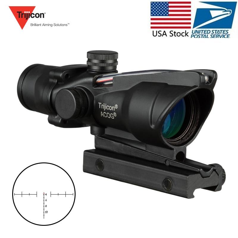 Trijicon ACOG 4X32 lunette de chasse vraie Fiber optique Grenn point rouge éclairé Chevron gravé réticule tactique viseur optique