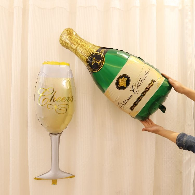 Cheers champagne bottle and glass foil balloon new years for Champagne balloon wall