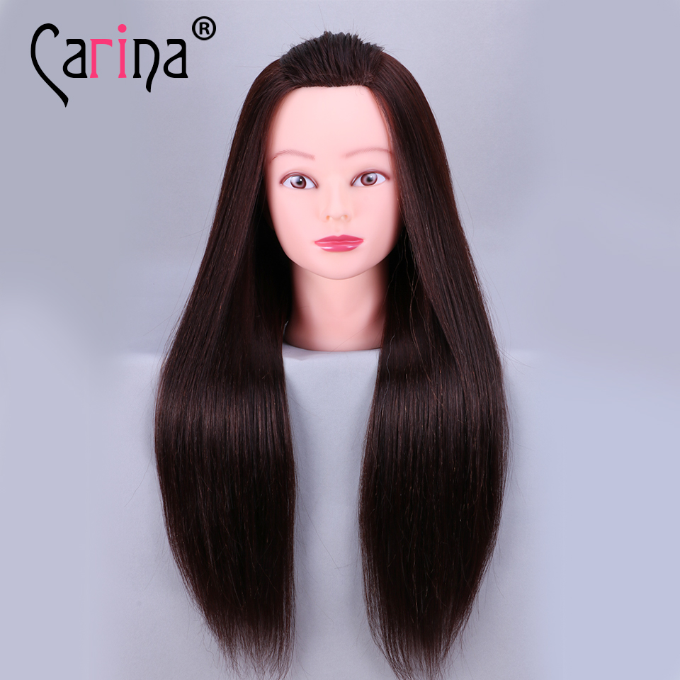 22'' Salon Mannequin Head For Hairstyles Making Hairdressing Head Training Head Black Fiber Hair Doll Hairdressing Manikin Dummy