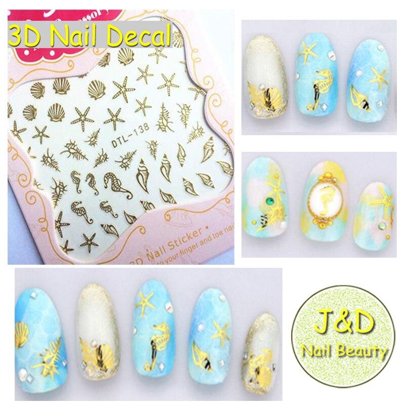 5pcs Golden Logo Starfish Shell Nail Art Sticker Black Sea Horse Snail Nail Decal White Conch Ocean Manicure Decoration