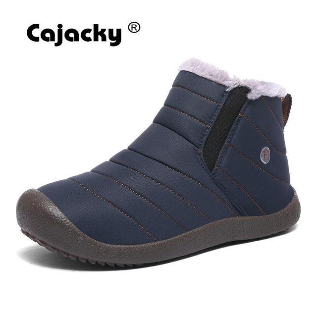 Cajacky גברים חורף מגפיים עם פרווה קרסול שלג Botas Hombre בתוספת גודל 48 47 חורף נעלי גברים חם קטיפה Botas masculinas גדול 11 10