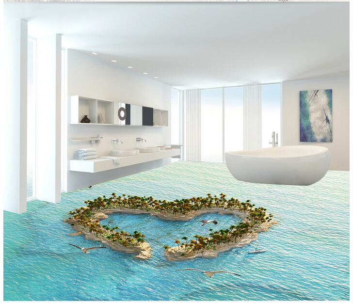 3d pvc flooring custom mural Self adhesive waterproof  floor Love island  painting picture photo wallpaper for walls 3d