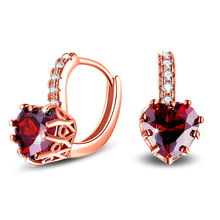 1Pair Hot Uloveido Korean Wedding Earrings For Women Earings With Red Heart Stones Rose Gold Color Dangle Earring