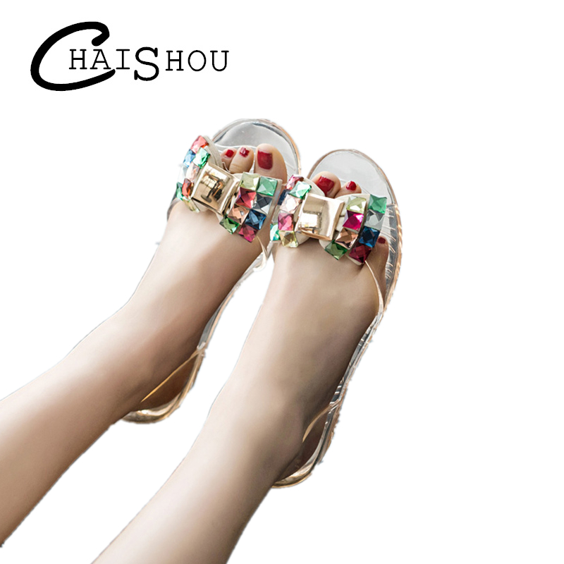 Women Sandals Summer new Style Bling Bowtie Jelly Shoes Woman Casual Peep Toe Sandal Crystal Flat Shoes women Size 35-40 L038 gold sliver shoes woman for 2016 new spring glitter bling pointed toe flats women shoes for summer size plus 35 40 xwd1841