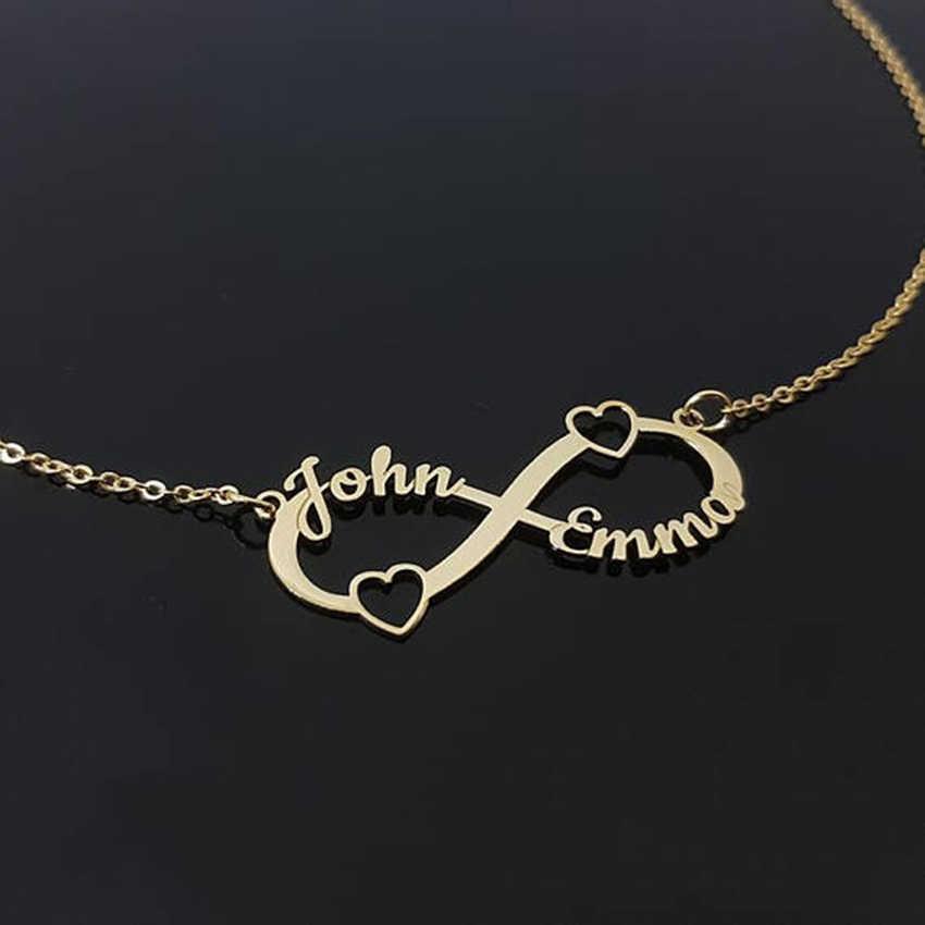 Spersonalizowane serce nieskończoność wisiorek naszyjniki kobiety mężczyźni niestandardowe 2 3 4 nazwy nieskończoność tabliczka znamionowa przyjaźń biżuteria Dropshipping