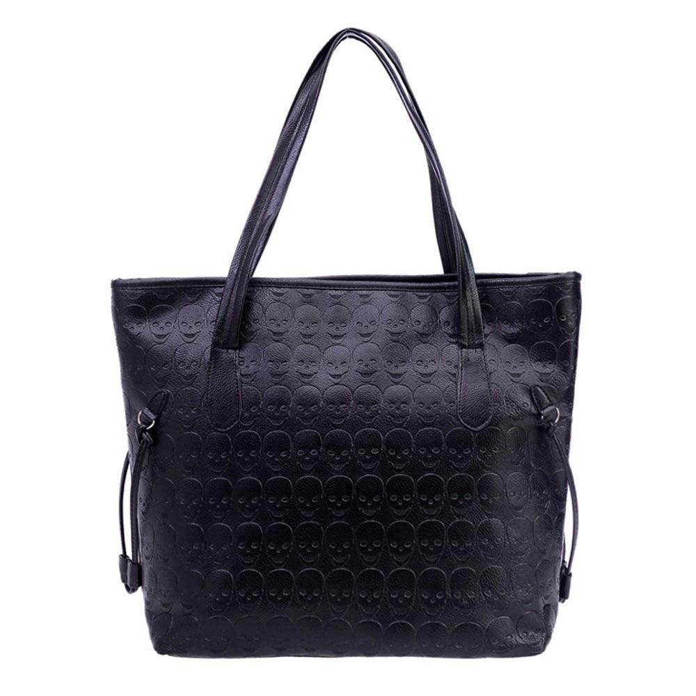 Bolso de hombro para mujer bolso de moda Retro con estampado de calavera de cuero para mujer bolso de hombro grande bolso de mano para mujer